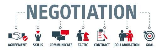 Концепция переговоров знамени с значками бесплатная иллюстрация