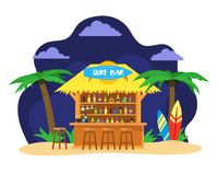 Концепция перемещения летних каникулов бара пляжа прибоя шаржа вектор бесплатная иллюстрация