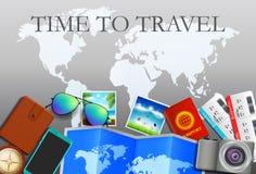 Концепция перемещения, подготавливает на лето Предпосылка перемещения и туризма Взгляд сверху Шаблон вебсайта концепции бесплатная иллюстрация