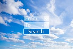 Концепция перемещения - применение для онлайн полетов резервирования Стоковое Изображение