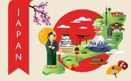 Концепция перемещения Японии с известными привлекательностями Стоковые Фотографии RF