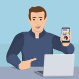 Концепция передвижного app Бизнесмен показывая smartphone Стоковая Фотография