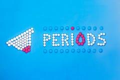 Концепция периодов женщины Периоды надписи сделанные таблеток боли на голубой предпосылке стоковые изображения rf