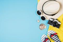 Концепция песчаного пляжа взгляд сверху Графическая предпосылка с космосом экземпляра Стоковая Фотография