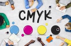 Концепция печатания смеси чернил цвета дизайна CMYK творческая Стоковое Изображение RF