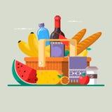 Концепция пикника лета с корзиной полной продуктов также вектор иллюстрации притяжки corel Стоковая Фотография