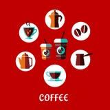 Концепция питья кофе плоская Стоковая Фотография RF