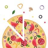 Концепция пиццерии Ломтик пиццы Стоковое Изображение