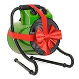 Концепция подарка, промышленный подогреватель вентилятора с красной лентой и смычок r бесплатная иллюстрация