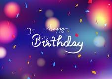 Концепция поздравительой открытки ко дню рождения с днем рождений, confetti бумаги украшения предпосылки партии торжества голубой иллюстрация вектора