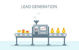 Концепция поколения руководства Процесс продукции руководств на конвейерной ленте Концепция маркетинга в плоском стиле Стоковые Фотографии RF