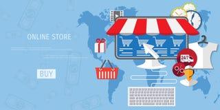 Концепция покупок вектора онлайн Стоковое Изображение
