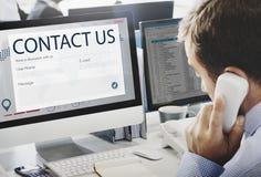 Концепция помощи поддержки обратной связи регистра контакта Стоковая Фотография RF