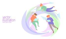 Концепция послания болтовни людей онлайн Сеть летания сети разнообразного человека занимаясь серфингом Бумажные плоские письма по иллюстрация вектора