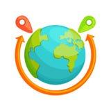 Концепция поставки по всему миру Глобус с красный вращать стрелки Стоковая Фотография