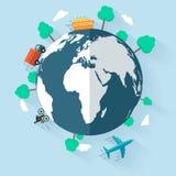 Концепция поставляя товары всемирно иллюстрация штока