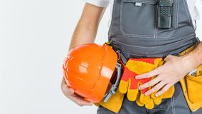 Концепция построителя, построителя, торговца или работника физического труда Isol Стоковое Фото