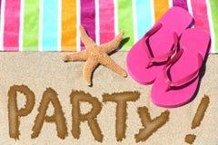 Концепция потехи перемещения партии пляжа Стоковое фото RF