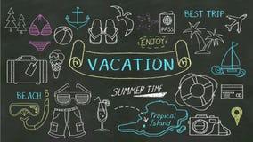 Концепция почерка 'каникул' на доске иллюстрация вектора