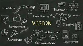 Концепция почерка '' VISION на доске с различной диаграммой бесплатная иллюстрация