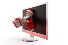 концепция подарка 3d Санта Клауса Стоковая Фотография