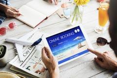 Концепция полета перемещения ресервирования билета резервирования онлайн Стоковые Фотографии RF