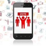Концепция политики: Smartphone с избирательной кампанией на дисплее Стоковое Изображение