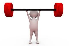 концепция подъема веса человека 3d Стоковые Изображения