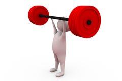 концепция подъема веса человека 3d Стоковая Фотография RF