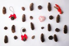 Концепция праздника рождества минимальная, предпосылка от естественного материала леса - конусов, древесины стоковое изображение