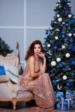 Концепция праздников, торжества и людей - молодая женщина в элегантном платье над предпосылкой интерьера рождества Стоковые Изображения RF