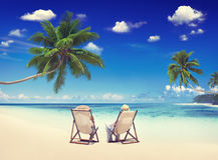 Концепция праздника пляжа лета каникул релаксации пар стоковое изображение rf