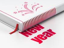 Концепция праздника: фейерверки книги, Новый Год на белой предпосылке Стоковое фото RF