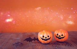 Концепция праздника хеллоуина Милая тыква и летучая мышь Стоковая Фотография