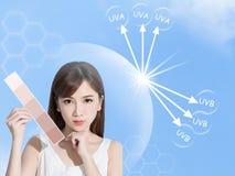 Концепция предохранения от солнца женщины стоковые фотографии rf