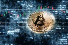 Концепция предпосылки валюты абстрактной золотой монетки bitcoin секретная Стоковое Изображение RF