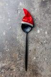 Концепция предпосылки еды рождества праздника Концепция меню рождества Ложка столового прибора с украшением рождества, камнем Стоковое Изображение RF