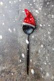 Концепция предпосылки еды рождества праздника Концепция меню рождества Ложка столового прибора с украшением рождества, камнем Стоковые Фотографии RF