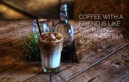 концепция предпосылки Цитаты кофе Стоковая Фотография