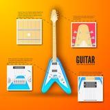 Концепция предпосылки гитары также вектор иллюстрации притяжки corel Стоковые Фото