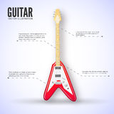 Концепция предпосылки гитары также вектор иллюстрации притяжки corel Стоковое фото RF