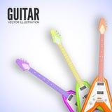 Концепция предпосылки гитары также вектор иллюстрации притяжки corel Стоковая Фотография RF