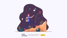 концепция приключения перемещения backpacker на открытом воздухе воссоздание каникул в теме природы пешего туризма, взбираться и  иллюстрация вектора