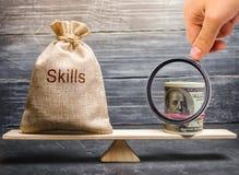 Концепция приличных заработных плат работника для полезных навыков Профессионалы дела курсы Низко-качества неправомочные стоковое изображение rf