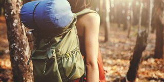 Концепция природы назначения рюкзака приключения располагаясь лагерем стоковые изображения