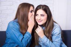 Концепция приятельства - 2 усмехаясь девушки шепча сплетне в livi Стоковые Изображения