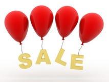 Концепция продажи, воздушный шар с продажей в белой предпосылке 3d представляют бесплатная иллюстрация