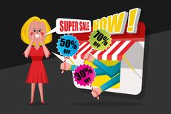 Концепция продажи и покупок, дамы молит красное платье крикнула к cust стоковое изображение rf