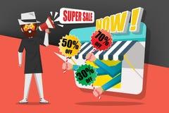 Концепция продажи и покупок, джентльмен использует мегафон звонка к c стоковое фото rf