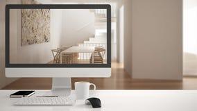Концепция проекта дома архитектора, настольный компьютер на белом столе работы показывая обеденный стол и лестницы, minimalistic  стоковые фото